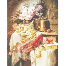 Still Life with a Lobster and Assorted Fruit and Flowers (Premium Chart)