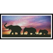 Silhouettes of Elephants against Sunset - #11382
