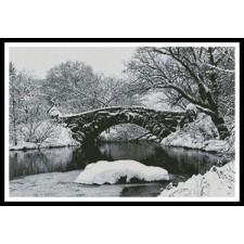 Lake and Bridge in Winter - #10596