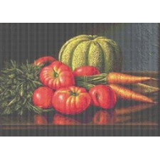 Still Life with Cantaloupe, Tomatoes, and Carrots
