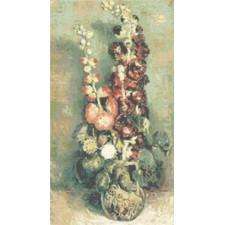 Vase with Hollyhocks