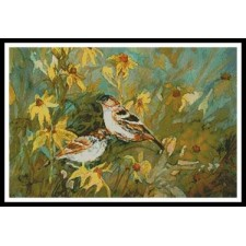 Sparrows in the Field - #11197-PFLD