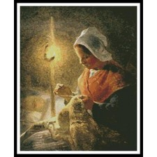 Woman Sewing by Lamplight - #11231