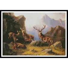 Deer in a Mountainous Landscape - #11265