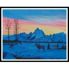 Teton Sunset in Winter - #11268-MB