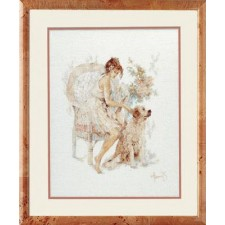 Counted cross stitch kit Girl in chair with dog
