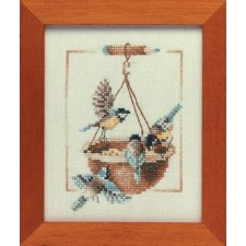 Counted cross stitch kit Feeding dish with birds