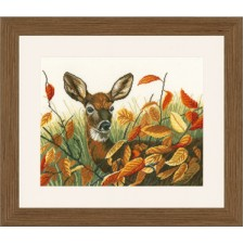(OP=OP) Counted cross stitch kit Deer in autumn leaves