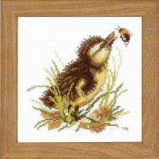 Counted cross stitch kit Duckling and bumble bee