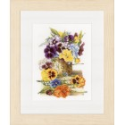 Counted cross stitch kit Pot of pansies