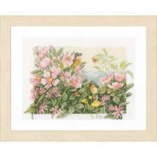 Counted cross stitch kit Birds & roses