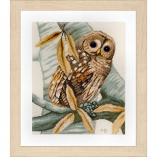 Counted cross stitch kit Owl and leaves