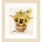 Counted cross stitch kit Yellow violets