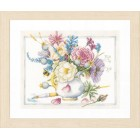 Counted cross stitch kit Flowers in white pot