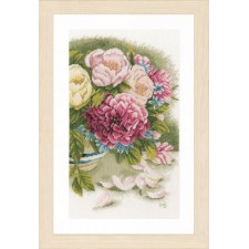 Counted cross stitch kit Peony roses