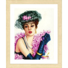Counted Cross Stitch Kit Elegant lady linen