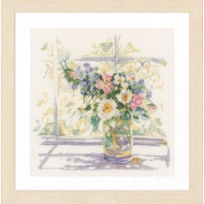 Counted Cross Stitch Kit Bouquet of Flowers linen