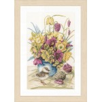 Counted cross stitch kit Flowers & lapwing