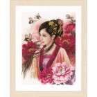 Counted cross stitch kit Asian lady in pink