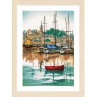 Counted cross stitch kit Sunrise at yacht harbour