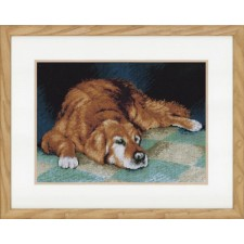 (OP=OP) Counted cross stitch kit Sleeping dog