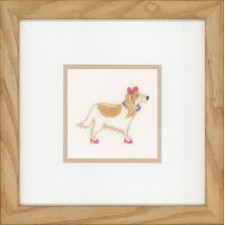 (OP=OP) Counted cross stitch kit Dog with pink bow
