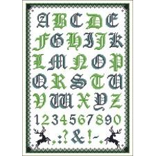 Folklore alfabet blauw/groen