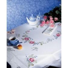 Tafelkleed roze bloemen met servetten
