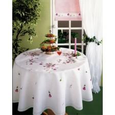 Tafelkleed rode bloemen met servetten
