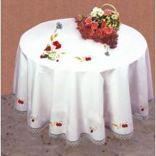 Tafelkleed rode veldbloemen en kersen met servetten
