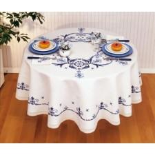 Tafelkleed blauwe motieven met servetten