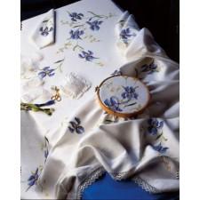 Tafelkleed blauwe irissen met servetten