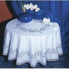 Tafelkleed blauwe takjes met servetten