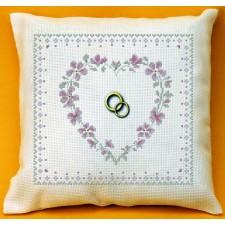 Ringkussen roosjeshart - COUSSIN MARIAGE: Coeur rose de mariage