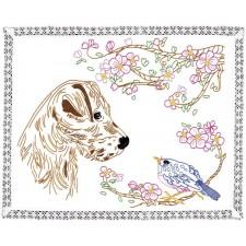 Tafelkleedje Hond en Vogel - Chien & Oiseau