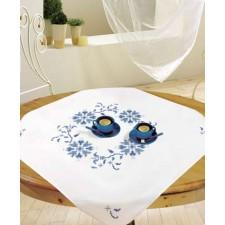 Tafelkleedje blauw motief - AZUR ROND