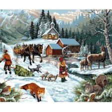 Winters bergtafereel - Le chemin qui mène au moulin