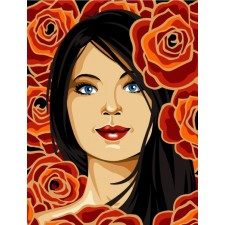 Meisje tussen bloemen - Belle de rose