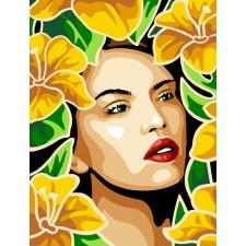 Meisje tussen bloemen - Belle en jaune