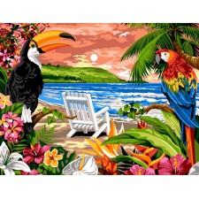 Toekan en papegaai op het strand - Plage exotique