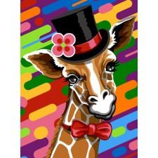 Giraf met hoofddeksel - Haut de forme fond onde