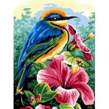 Vogel op bloeiende bloem - Bleu rose