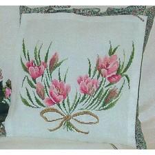 Kussen roze bloemen
