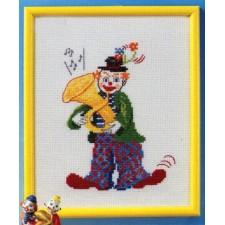 Clown met tuba