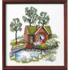 Huis bij water en ganzen