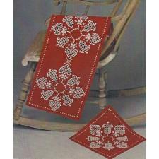 Hardanger kerstkleedje rood