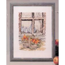 Mand met peren voor venster