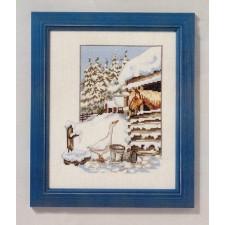 Gans en paard in de sneeuw