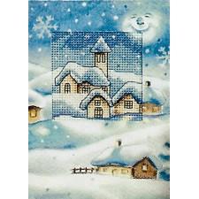 Kerstkaart met huisje en kerk in de sneeuw