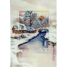 Kerstkaart met kerkje en brug in de sneeuw